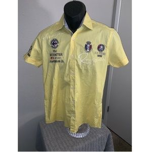 Red Bridge Jeans Yellow Embroidered Mens Shirt L